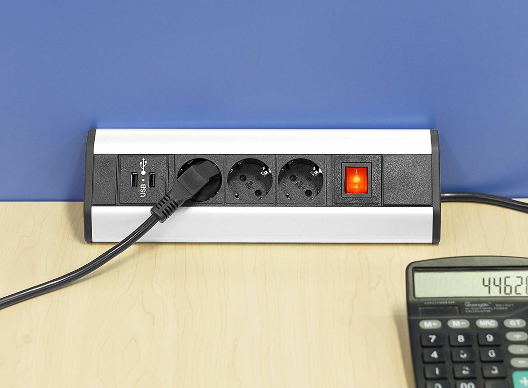 3,500 Watts Mountable Power Strip , Desk Power Outlet Inconspicuous Design